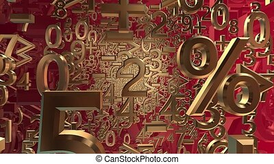 Abstract variables numbers and symbols in gold on red