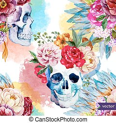 Ethnic skull - Beautiful vector pattern with nice watercolor...