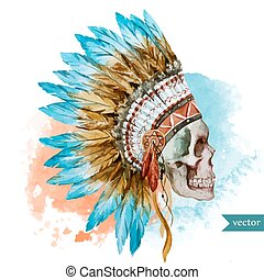 Ethnic skull - Beautiful vector illustration with watercolor...