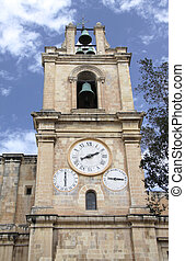 church bell tower - one of the two bell towers of st.john\'s...