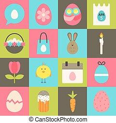 Easter flat stylized icon set 2