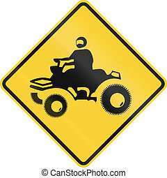 ATV Crossing Sign - US road warning sign: ATV crossing