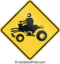 ATV Crossing Sign - US road warning sign: ATV crossing