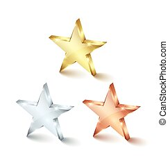 Golden silver and bronze stars - Golden, silver and bronze...