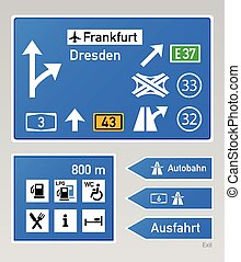 Autobahn signs - Typical autobahn signs in Germany