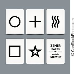 Zener cards suitable for telepathy on grey background