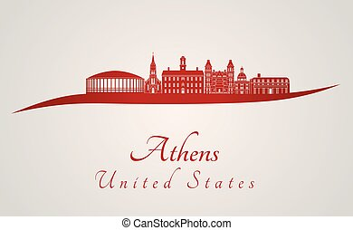 Athens skyline in red and gray background in editable vector...