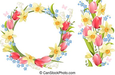 Frame and seamless border with spring flowers - tulips and...