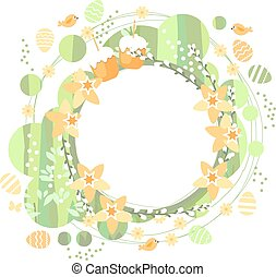 Spring frame with daffodils - Spring stylized round frame...
