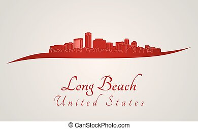 Long Beach Skyline in red - Long Beach skyline in red and...