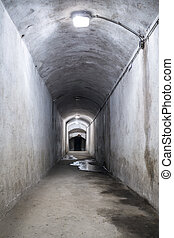 Ruined corridor with lamps - Ruined corridor in a World War...