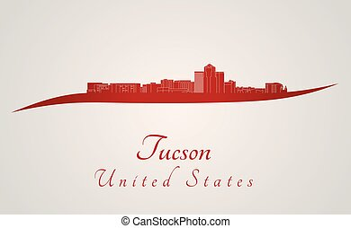 Tucson Skyline in red - Tucson skyline in red and gray...