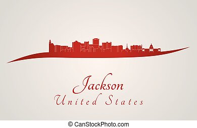 Jackson Skyline in red - Jackson skyline in red and gray...
