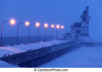 Duluth Harbor South Breakwater Outer Lighthouse during snow...