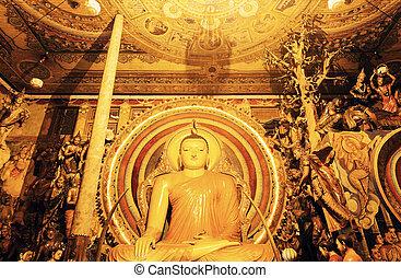 Budda statue in Gangaramaya Temple - Colombo, Sri Lanka