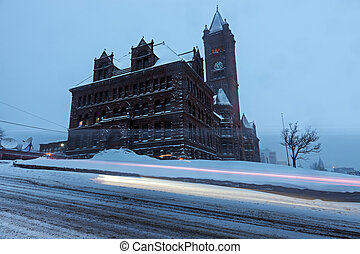 Duluth architecture during snow storm. Duluth, Minnesota,...
