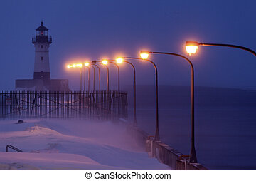 Duluth Harbor North Breakwater Lighthouse during snow storm....