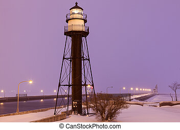 Duluth Harbor South Breakwater Inner Lighthouse during snow...