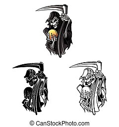 Coloring book grim reaper caracter - Coloring book Grim...