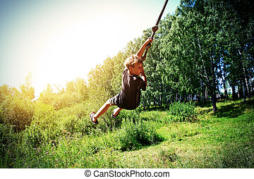 Kid Bungee jumping - Vignetting Photo of Kid Bungee jumping...