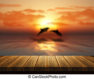 Wooden table looking out to sea with dolphins jumping - 3D...