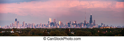 Sunset panorama of Chicago with colorful clouds Chicago,...