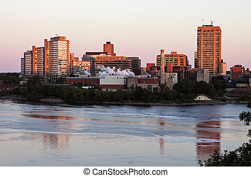 Alexandra Bridge and skyline of Gatineau - Gatineau, Québec,...