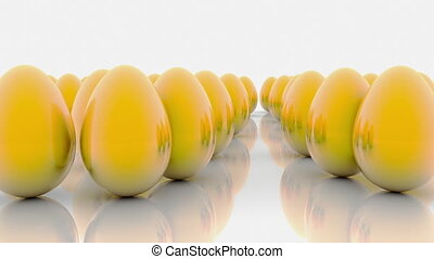 Abstract golden eggs on white