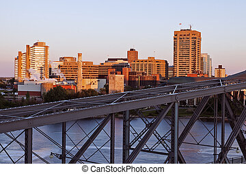 Alexandra Bridge and skyline of Gatineau - Alexandra Bridge...