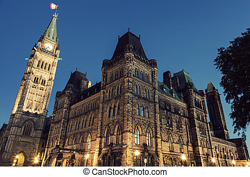 Canada Parliament Building at sunrise. Ottawa, Ontario,...