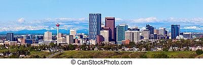 Panorama of Calgary and Rocky Mountains. Calgary, Alberta,...