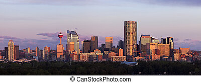 Panorama of Calgary at sunrise - Panorama of Calgary at...