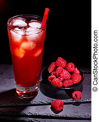 Red raspberry cocktail on dark background 5 - Red raspberry...