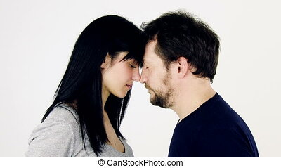 couple in love looking each other - medium shot of beautiful...