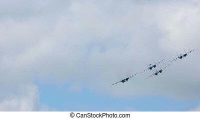 Aerobatics - NOVOSIBIRSK, RUSSIA - JULY 28, 2013: Sukhoi...