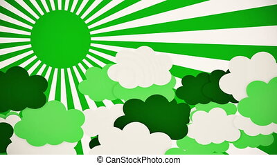 Abstract sunburst in green with clouds