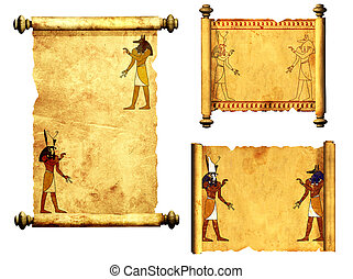 Set of scrolls with Egyptian gods images - Anubis and Horus...