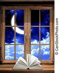 abierto, libro, en, alféizar,