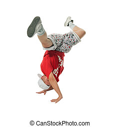 Cool hip-hop young man - Cool young hip-hop dancer on white...