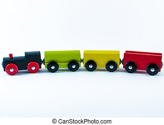 A Child's Wooden Toy Train Set - A multicolored wooden...
