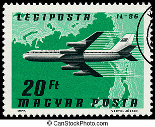Stamp printed in Hungary shows planeIL-86