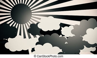 Abstract sunburst in black with clouds