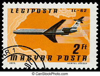 Stamp printed in Hungary shows plane IL-62 - HUNGARY - CIRCA...