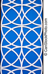 Blue and White Circle Patterns - Linked white circles form a...
