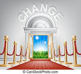 Change for the better concept - A VIP door to change opening...