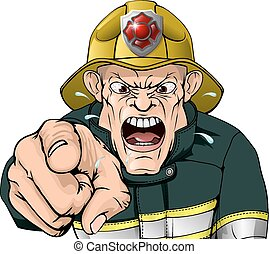Angry firefighter - A cartoon angry fire fighter character...