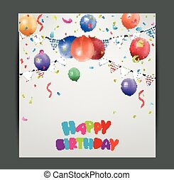 Birthday card design with colorful