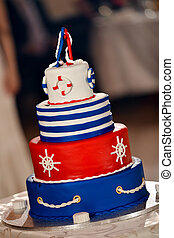Navy cake with white, blue and red