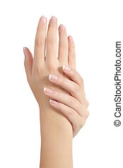 Beauty woman hands with perfect french manicure isolated on...