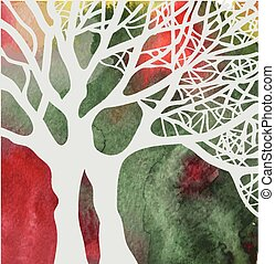 Tree abstract card on the watercolor background - design for autumn